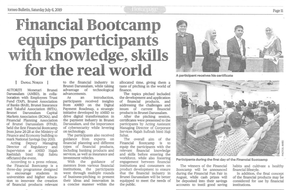Clipping July 6 Financial Bootcamp equips participants with knowledge, skills for the real world