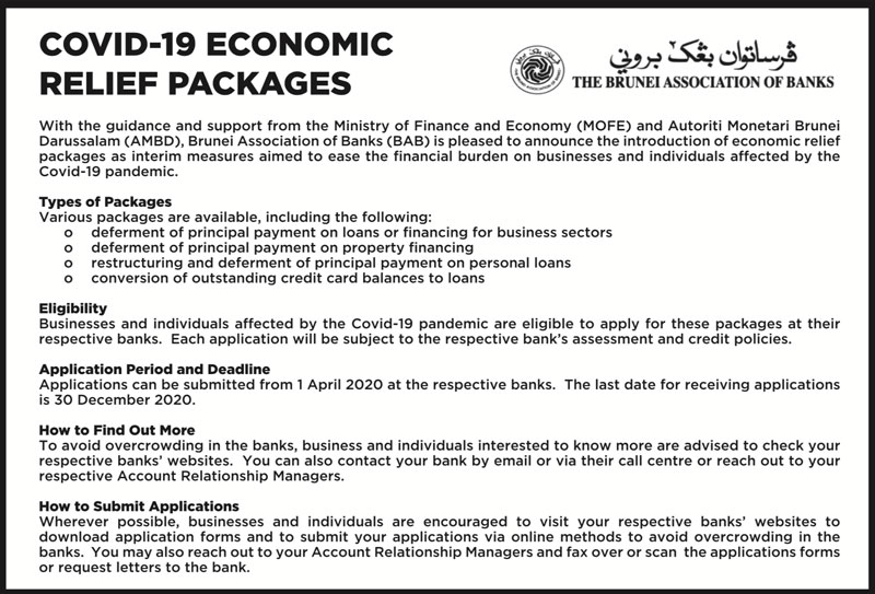BAB Announcement on COVID-19 Economic Relief Packages