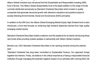 Press release – Standard Chartered Securities introduces first Sustainable and Responsible Investing fund in Brunei