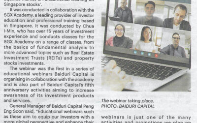 Baiduri Capital organized an investment webinar titled 'An Overview of Singapore Equities Market & Fundamental training on Singapore Stocks'