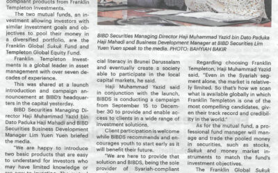 Bank Islam Brunei Darussalam Securities Sdn Bhd (BIBDS) launched two new investment products