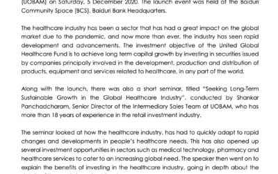 BAIDURI CAPITAL LAUNCHES THE UNITED GLOBAL HEALTHCARE FUND WITH UOB ASSET MANAGEMENT