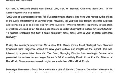 SCB – 16 Jan 2021 -Standard Chartered brings Market Outlook to Valued clients