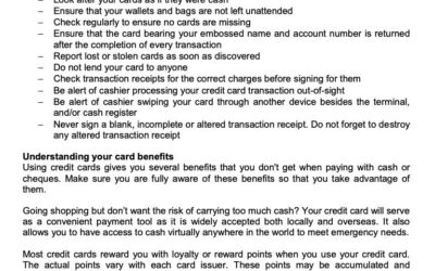MONEY MATTER$ – MANAGING YOUR CREDIT CARDS – SCB 8 JULY 2021