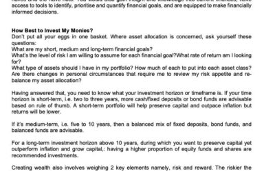 MONEY MATTER$ – HOW TO GROW WEALTH FOR YOUR FUTURE – SCB