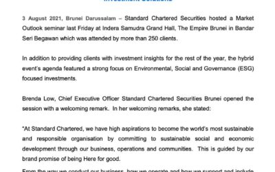 SCB Standard Chartered focuses on Sustainable Investing in Market Outlook
